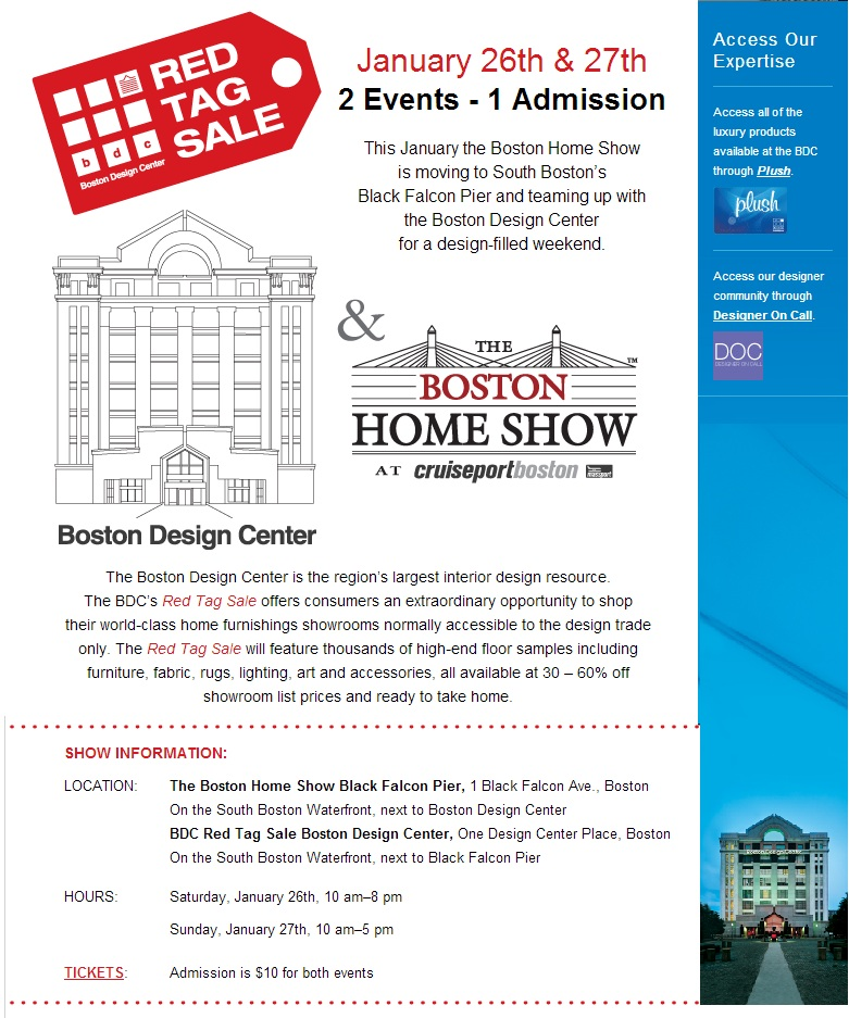 Boston Home Show » Boston Design Center's Red Tag Sale